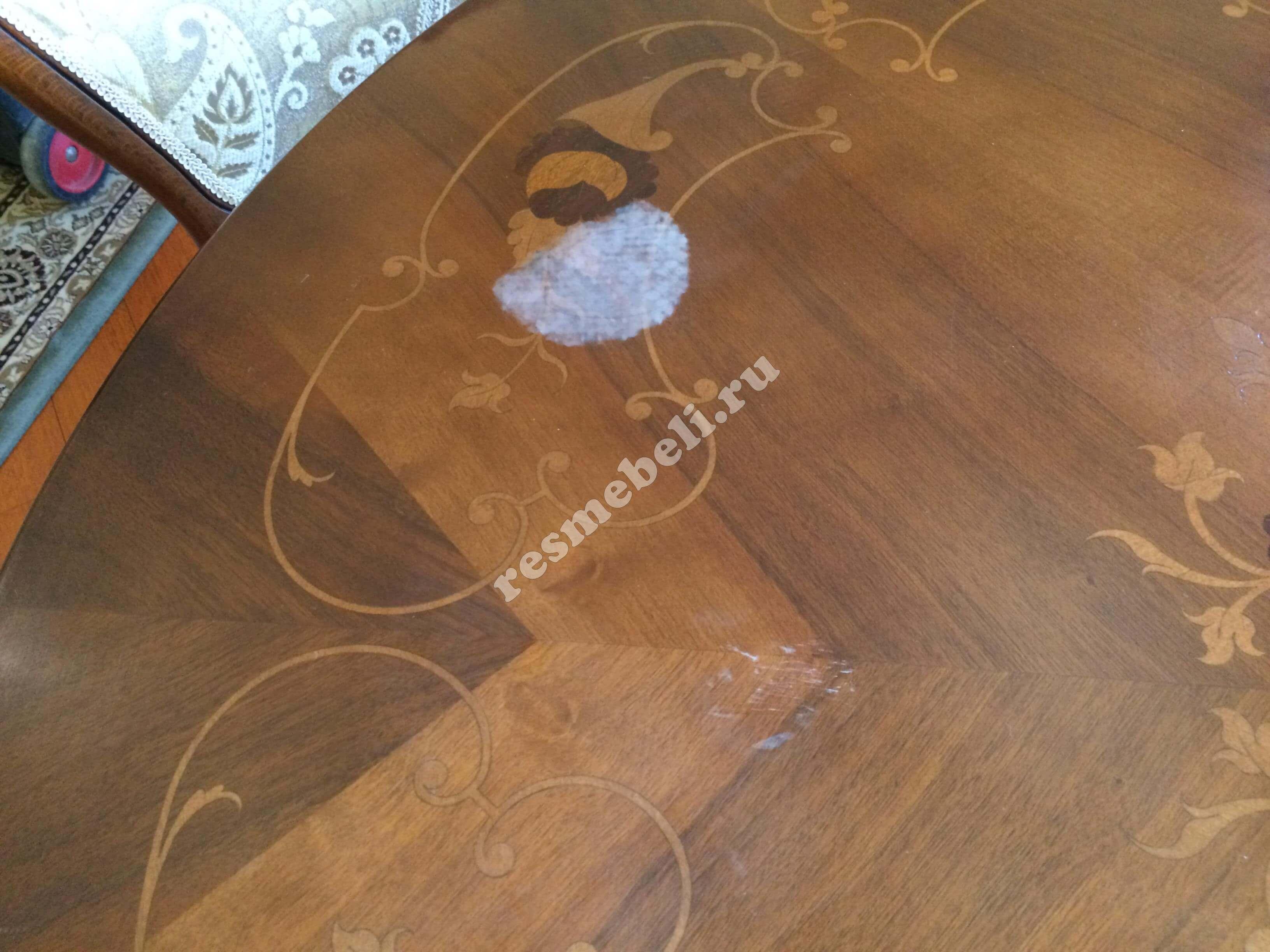 Как удалить пятно от горячего на столе фото